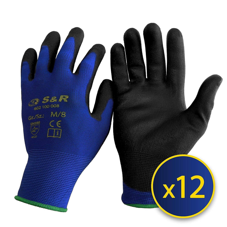 S&R Lot de 12 paires de Gants de Travail en Nylon et Polyuré thane Taille 9 S&R Industriewerkzeuge GmbH