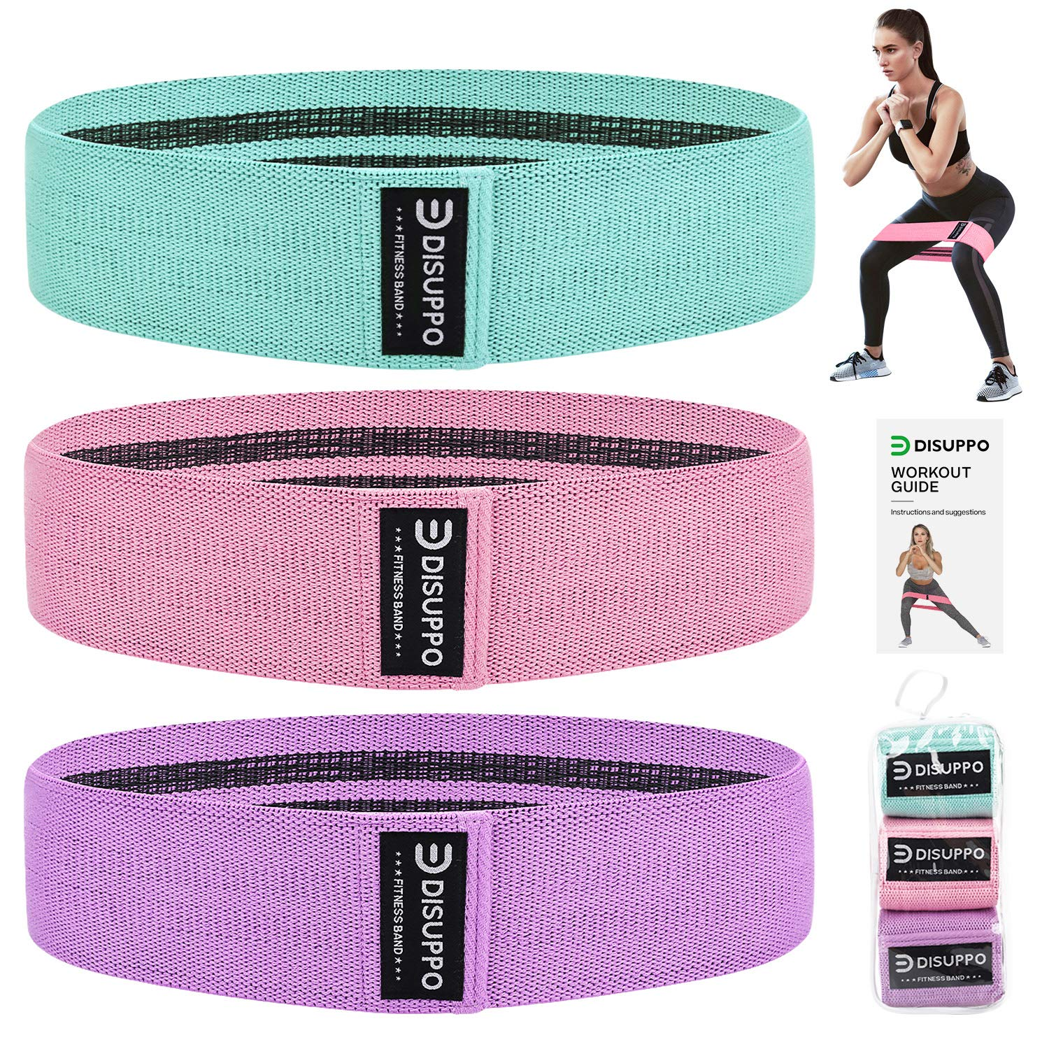 DISUPPO Resistance Bands for Legs and Butt, Workout Hip Bands High Exercise Bands Wide Booty Bands, Fabric Fitness Loop Bands for Body Stretching, Yoga, Pilates