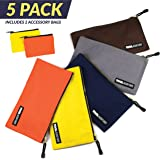 """Canvas Tool Pouch, 5 Pack   Heavy Duty 16 oz. Bags with Smooth Dependable Metal Zippers   Includes 2 FREE Accessory Bags For Even More Durable Storage   12.5"""" x 7"""" Sizes Easily Organize Supplies"""
