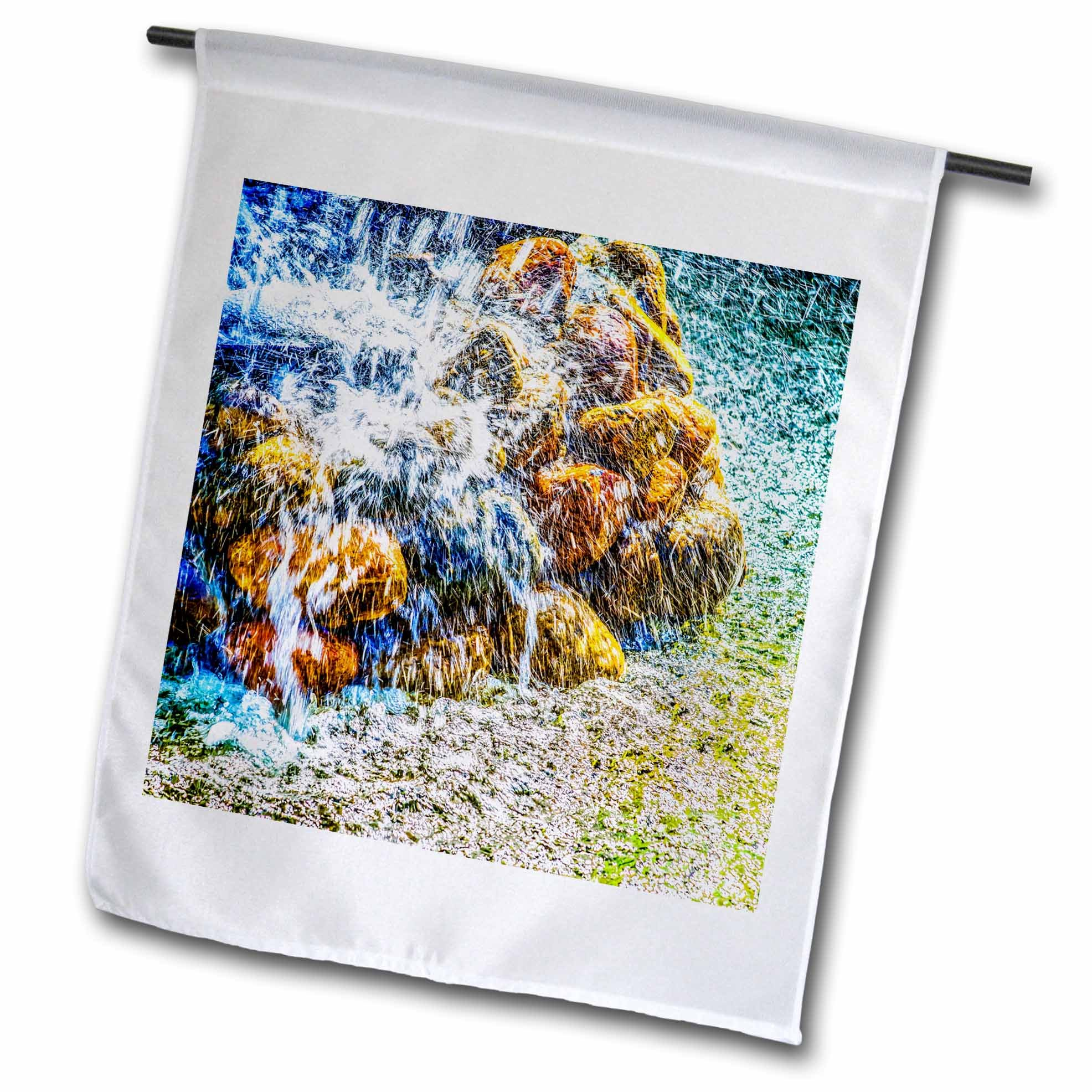 3dRose Alexis Photography - Objects - Violent water jets over the fountain stones - 18 x 27 inch Garden Flag (fl_270877_2)