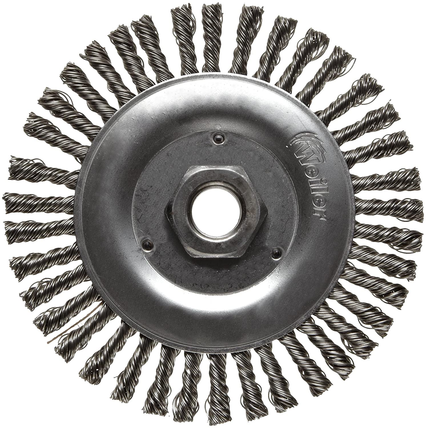 Weiler Dualife Narrow Face Wire Wheel Brush, Threaded Hole, Stainless Steel 302, Stringer Knotted, 5' Diameter, 0.020' Wire Diameter, 5/8-11' Arbor, 7/8' Bristle Length, 3/16' Brush Face Width, 12500 rpm 5 Diameter 0.020 Wire Diameter 5/8-11 Arbor 08806