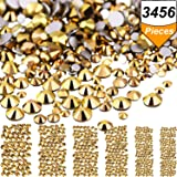 Bememo 3456 Pieces Nail Crystals AB Nail Art Rhinestones Round Beads Flatback Glass Charms Gems Stones, 6 Sizes for Nails Decoration Makeup Clothes Shoes (Gold, Mixed SS4 5 6 8 10 12)