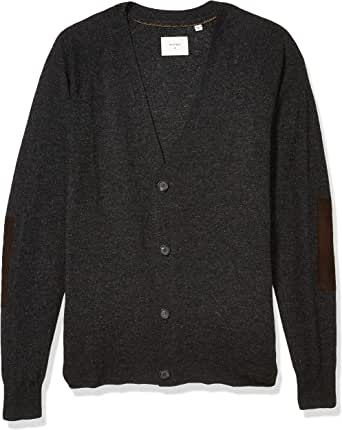 Billy Reid Men's Cashmere Silk Saddle Cardigan Sweater with Leather Patches
