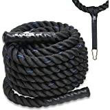 "Battle Ropes Poly Dacron - 1.5"" / 2"" 30' 40' 50' Lengths - Workout Rope - Single Anchor Strap and Nylon Protective Sleeve Included"