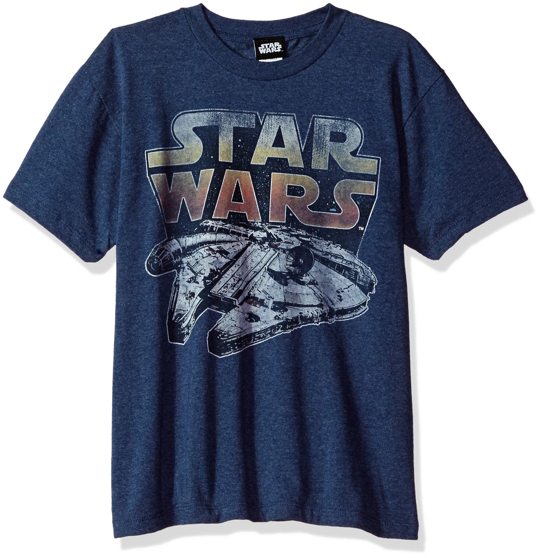 Star Wars Big Boys' Millenium Falcon Sunset Logo Graphic Tee, Navy Heather, YM