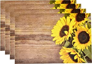 """Disposable Sunflowers Paper Place Mats 50 Pack 11""""x 17"""" Rectangle Summer Sunflower Floral Chargers Place mat for Spring Bloom Yellow Daisy Sun Flower Leaf Wood Board Table Mat Dinner Party Decor"""