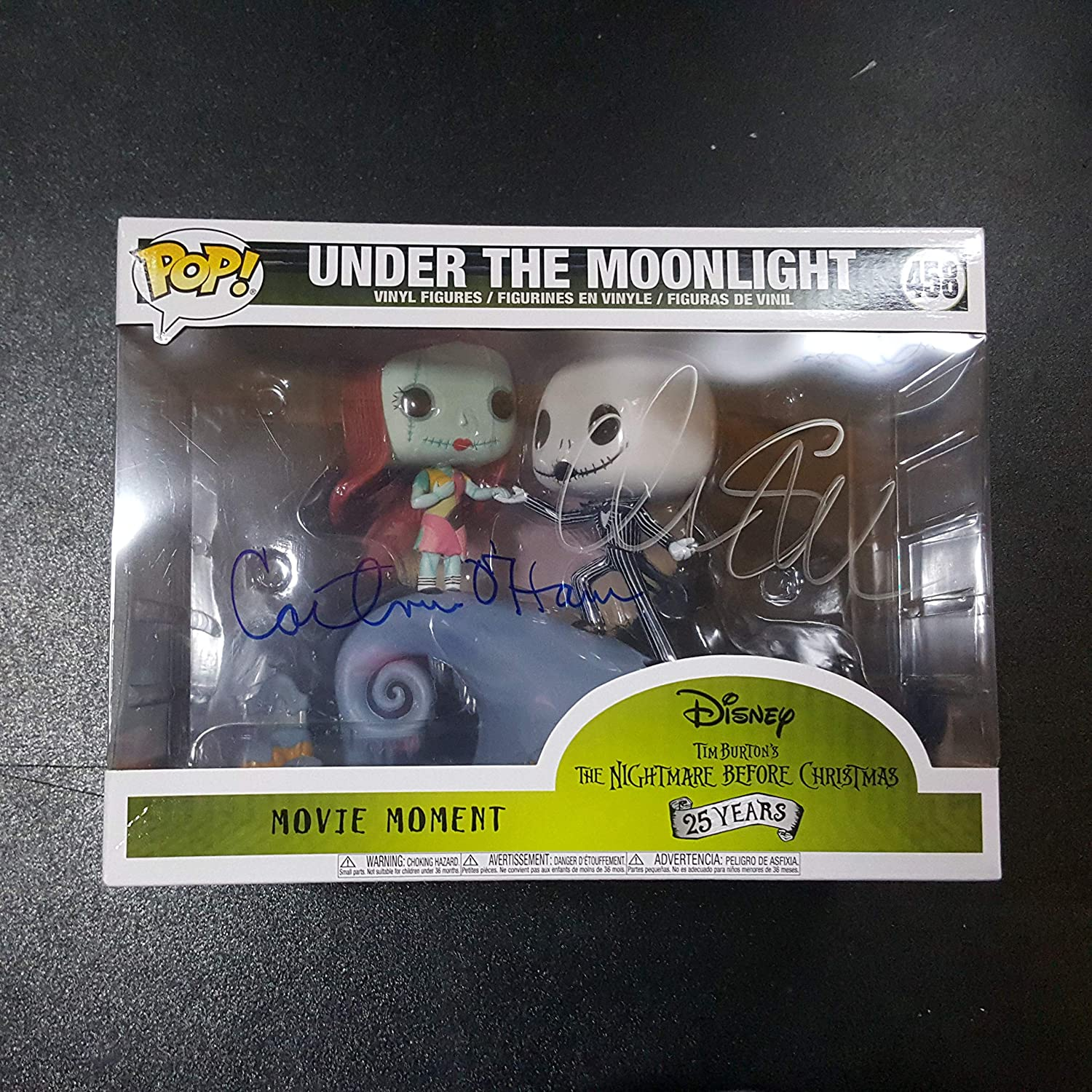 Tim Burton Chris Sarandon & Catherine O'Hara - 3x Autographed Signed Under The Moonlight FUNKO POP 458 Vinyl Figure Setting from The Nightmare Before Christmas Jack Skellington Sally COA