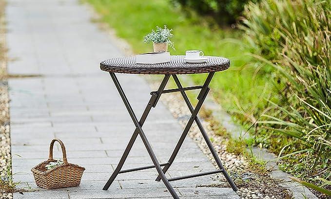 Amazon.com: JIWU Juego de mesa de comedor plegable de mimbre ...