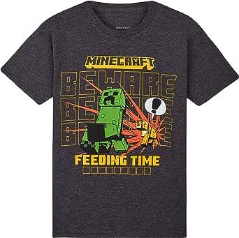 Minecraft Camiseta Niño, Ropa Niño Algodon 100%, Camisetas para Gamers en Negro y Gris, Regalos para Niños y Adolescentes Edad 4-15 Años