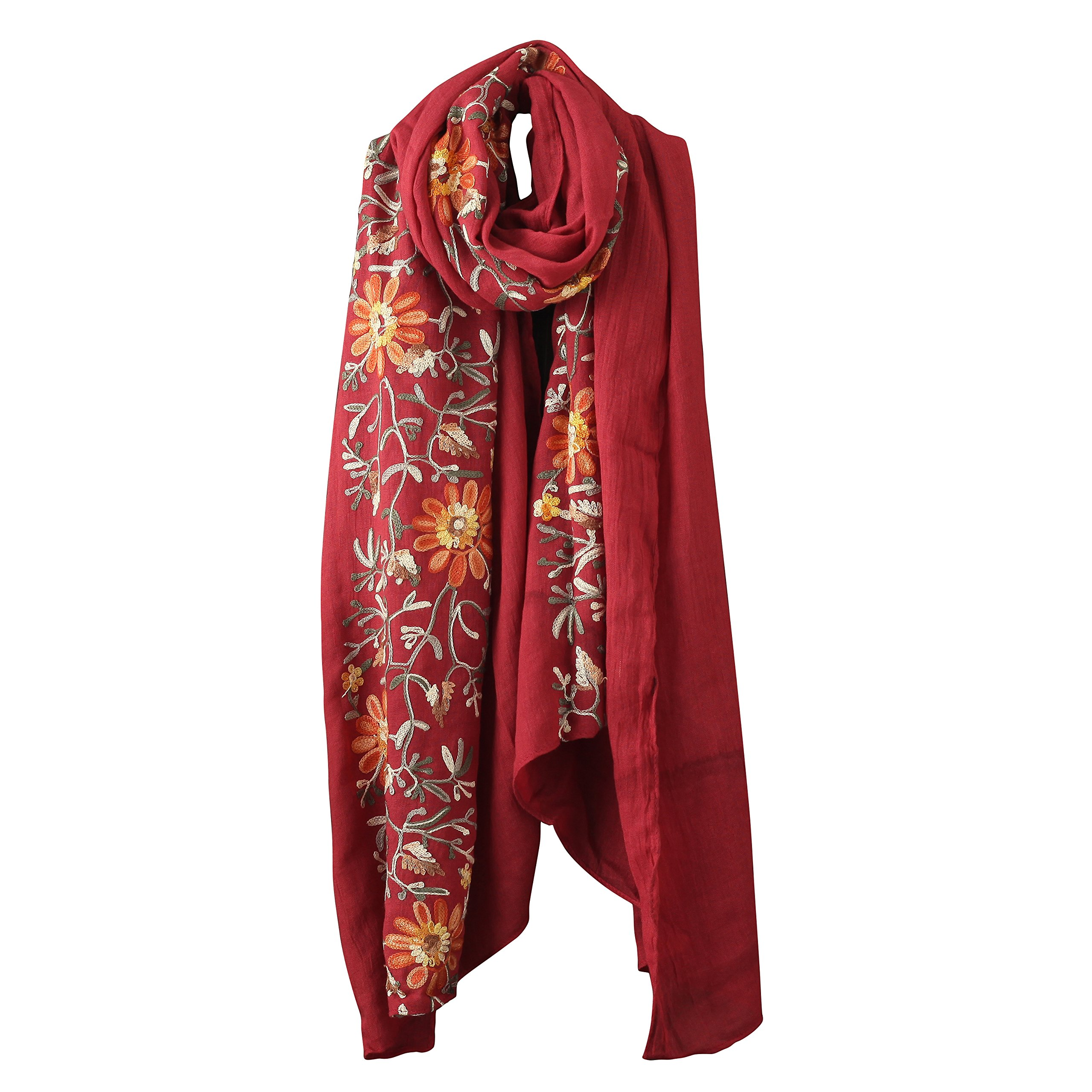 Welltogther Womens National Style Lightweight Neck Scarves Flower Wrap Shawl (Wine Red)