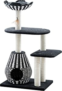 "Ace - PetPals Cat Tree & Cat Condo-Four Level Perch & Condo Lounger, 27 x 19 x 49"", Black/White"