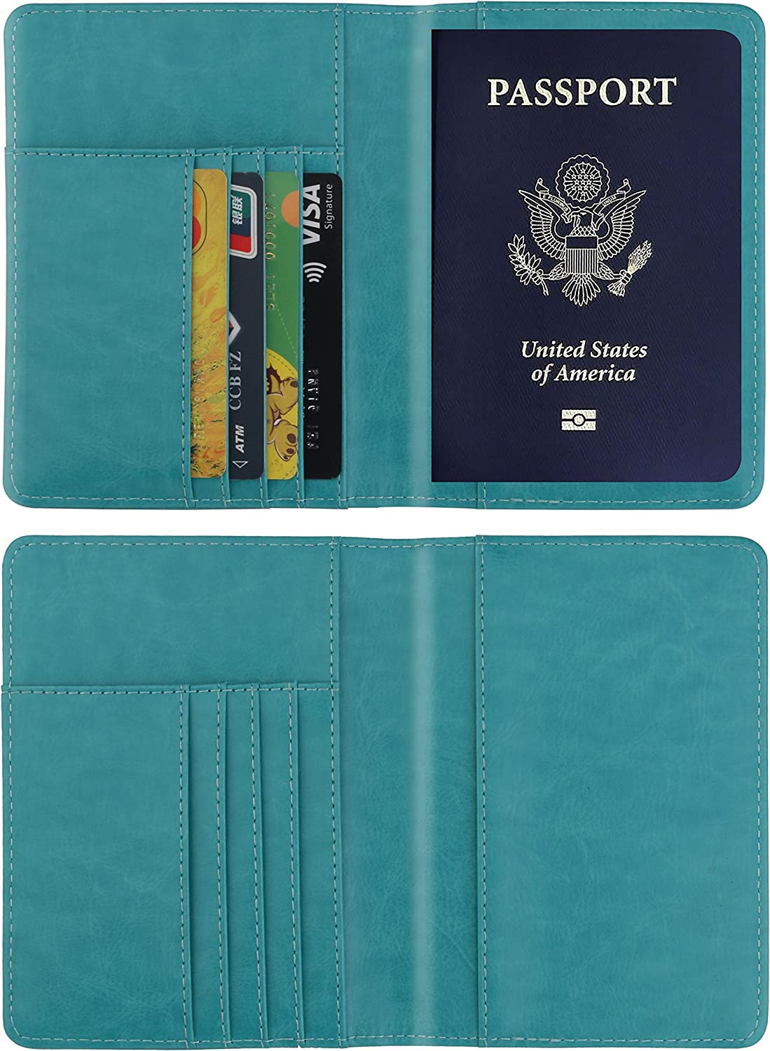 PU Leather Passport ID Card Holder Cover Case RFID Blocking Travel Wallet for Men Women
