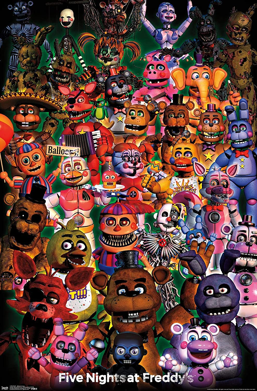 Amazon Com Trends International Fnaf Ultimate Group Wall Poster 22 375 X 34 Multi Posters Prints