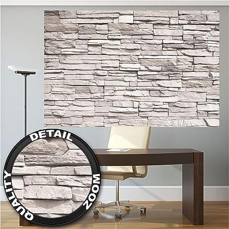 GREAT ART Mural De Pared – Muro De Piedra Blanca – Revestimiento De Paredes De Diseño Industrial, Muro De Piedra Natural Foto Papel Pintado Y Tapiz Y Decoración (210 X 140 Cm): Amazon.es: Hogar