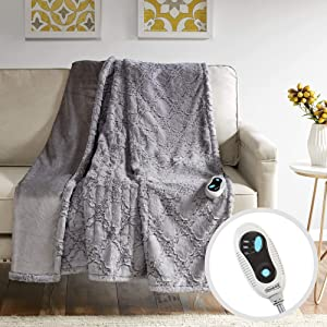 Beautyrest Brushed Long Fur Electric Throw Blanket Ogee Pattern Warm and Soft Heated Wrap with Auto Shutoff - 5 Year Warranty, 50x60, Grey