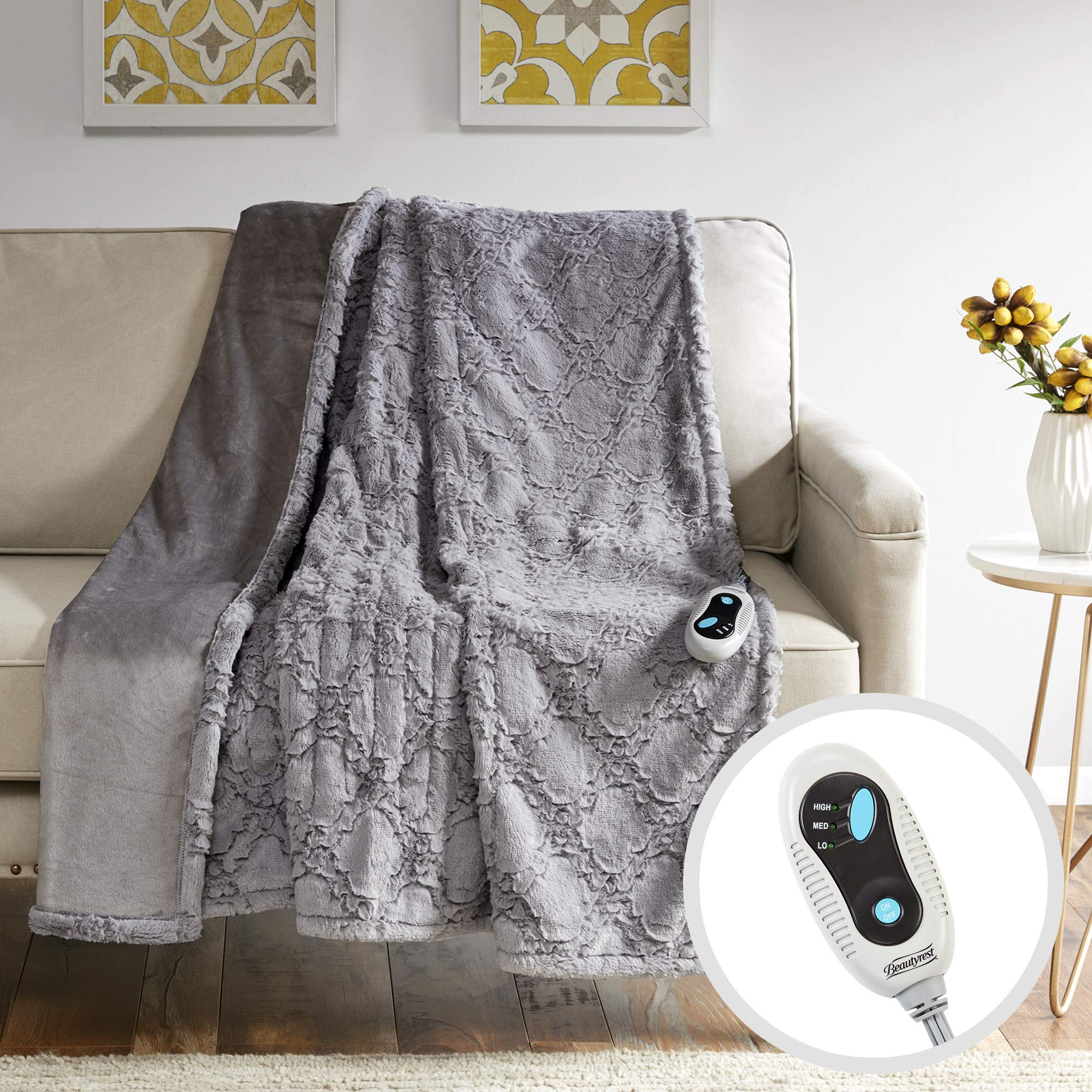 Beautyrest Brushed Long Fur Electric Throw Blanket Ogee Pattern Warm and Soft Heated Wrap with Auto Shutoff, 50'' W x 60'' L, Grey by Beautyrest