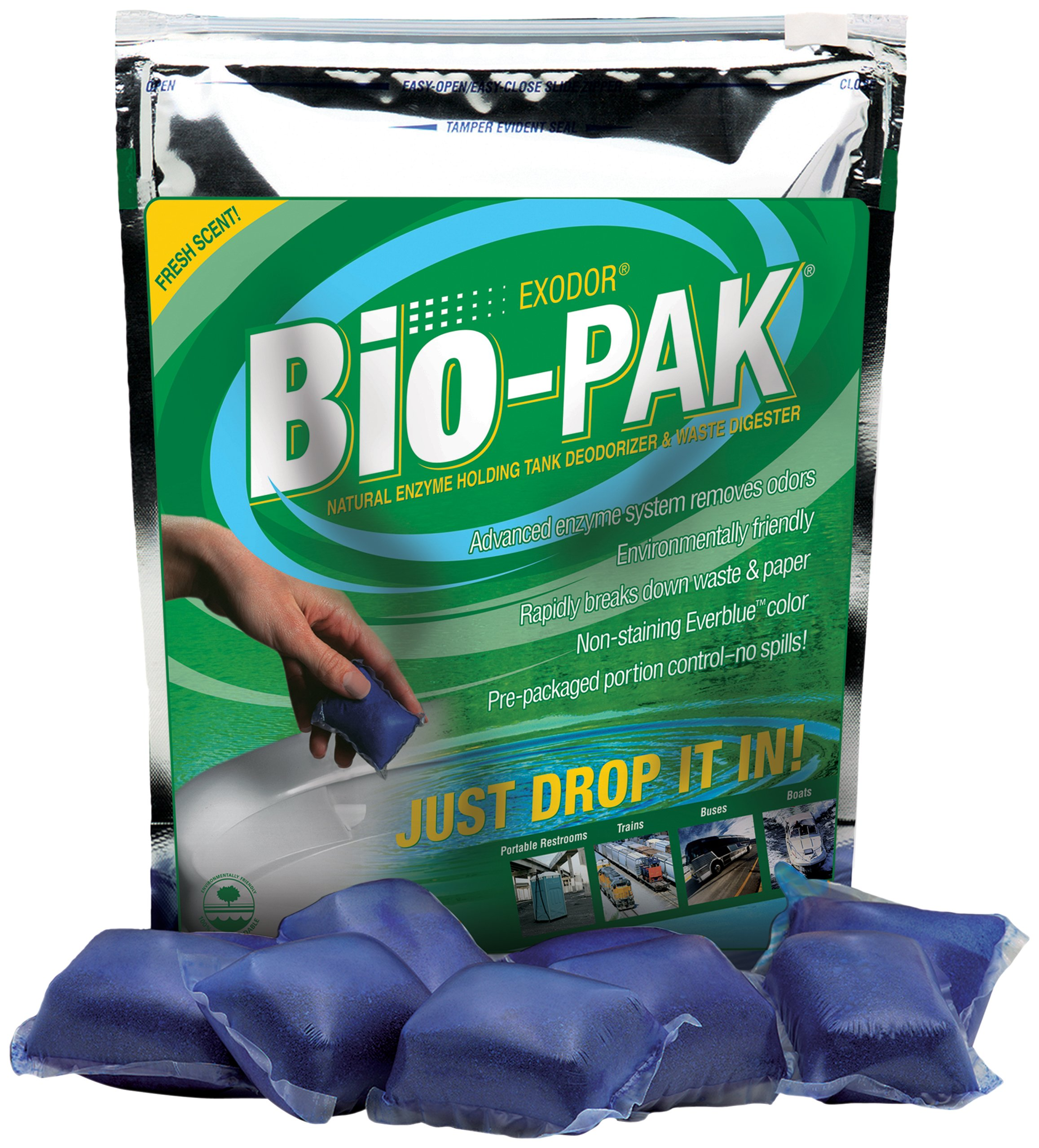 Walex BIO-11550 Bio-Pak Natural Holding Tank Deodorizer and Waste Digester Drop-Ins, Mint Scent (Pack of 50) by Walex