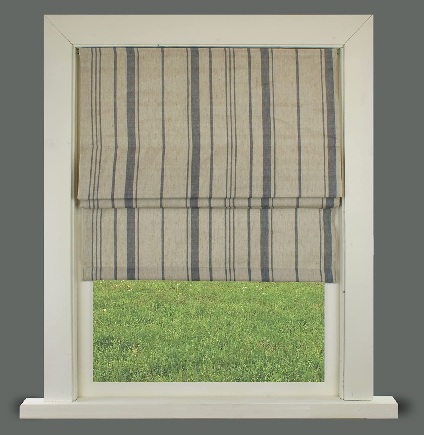 Grey Stripe Lined Roman Blind With Fittings (2ft(61cm)) Barnes Textiles