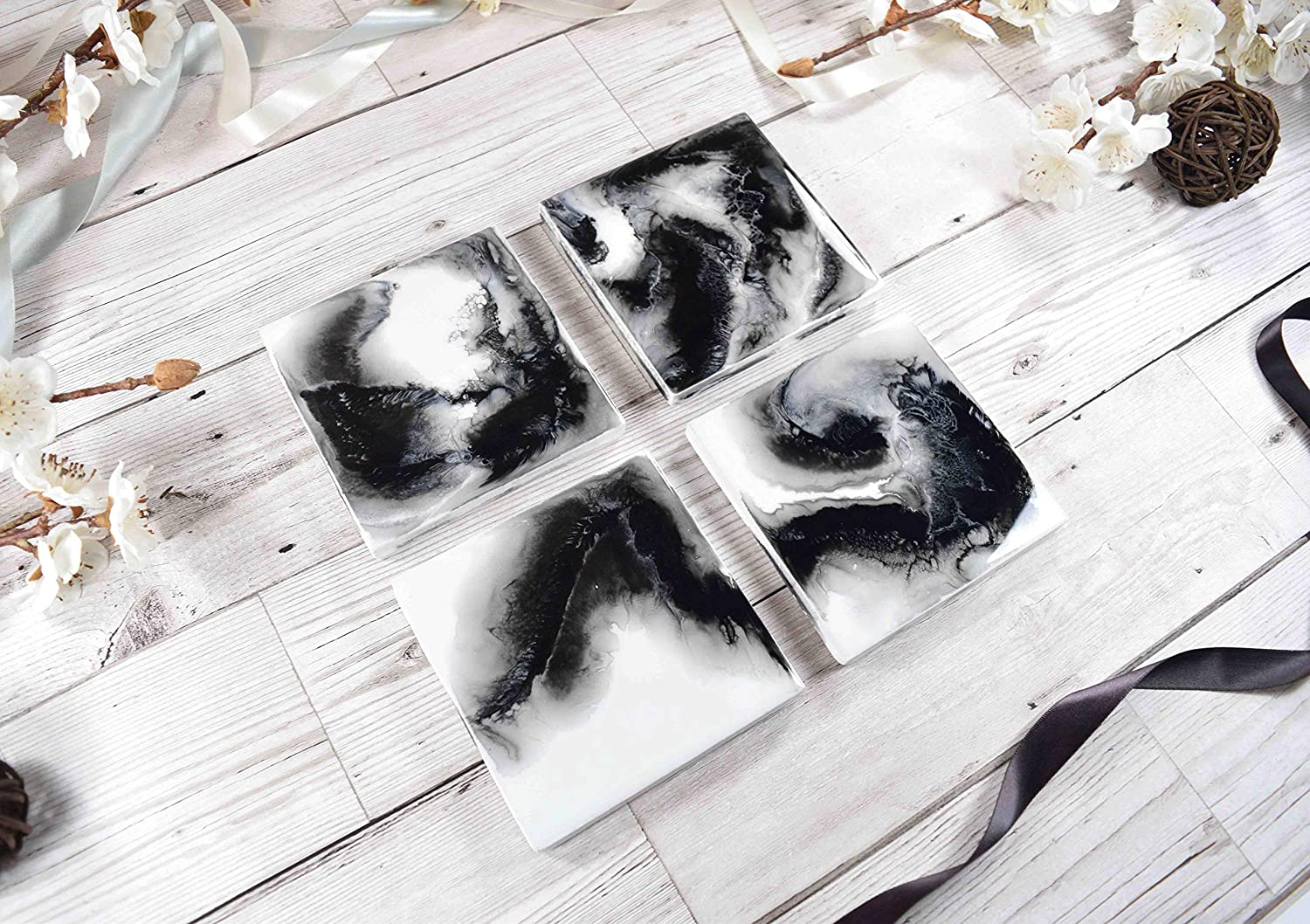 Drinks coasters with black and white resin art amazon co uk handmade