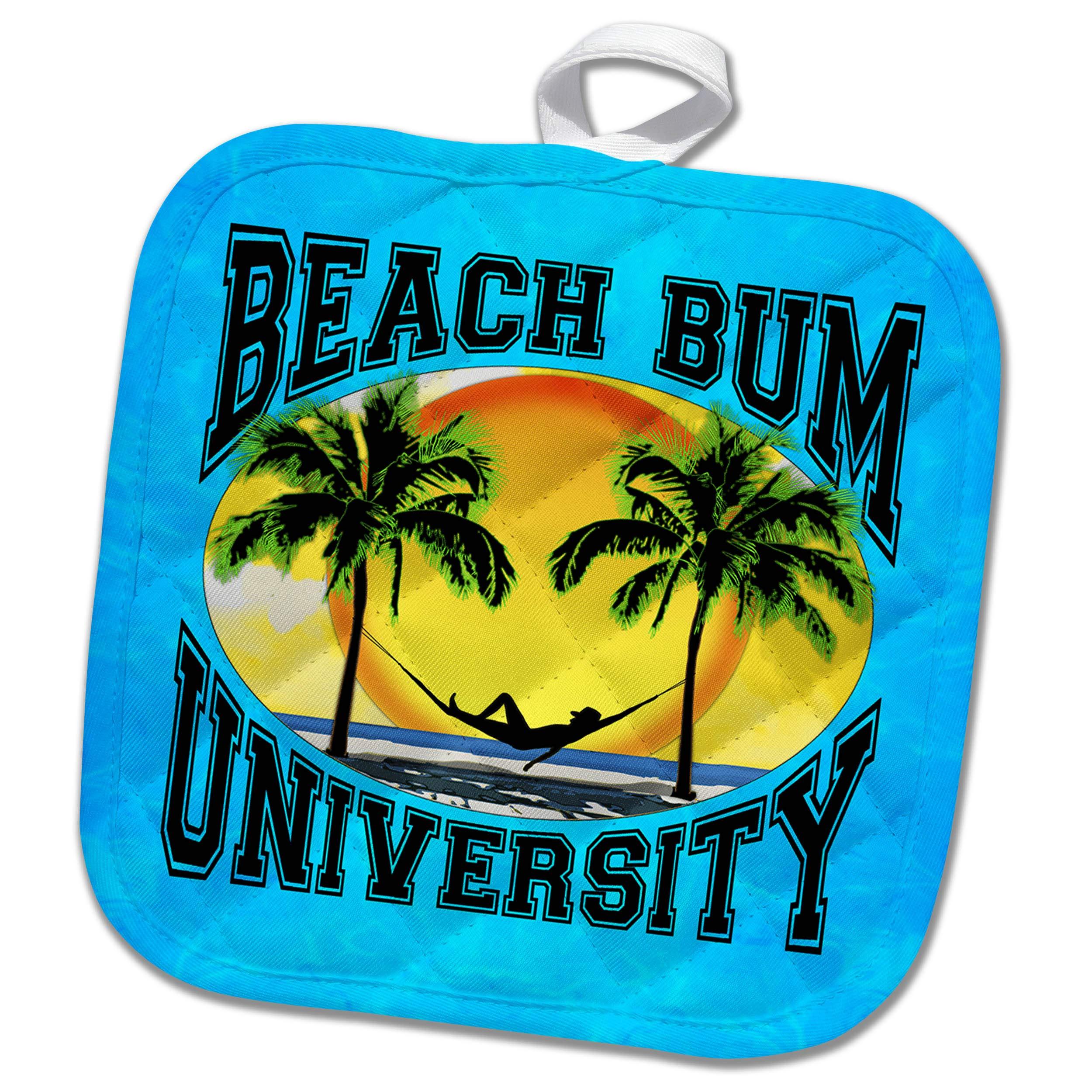 3dRose Macdonald Creative Studios – Beach - A Fun Beach Bum University for Anyone who Loves Relaxing on The Beach. - 8x8 Potholder (PHL_291858_1)
