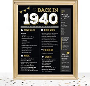GoodSite Brands 80th Birthday Decorations Anniversary Centerpiece Gifts for Women Men | 8x10 Back in 1940 Sign/Poster Unframed | Perfect Party Table Decor, Black/Gold with Fun Vintage Look