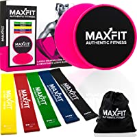 Large Φ20 cm Core Sliders & Resistance Bands; Bands Stretching & Sliders with Dual Sided Use on Carpet or Hardwood Floors; for Core Exercise, Physical Therapy, Lower Pilates, Rehab
