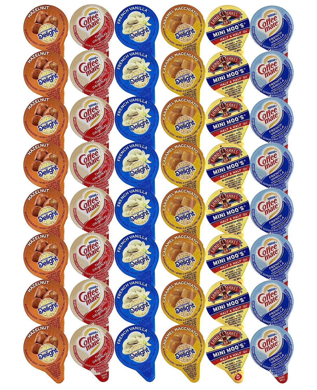 48 Assorted Coffee Cream Creamer Singles Set, Delicious Coffee Mate Liquid Coffee Creamer, International Delight Mini Coffee Creamer 6 Flavor Assortment (48 Pack)