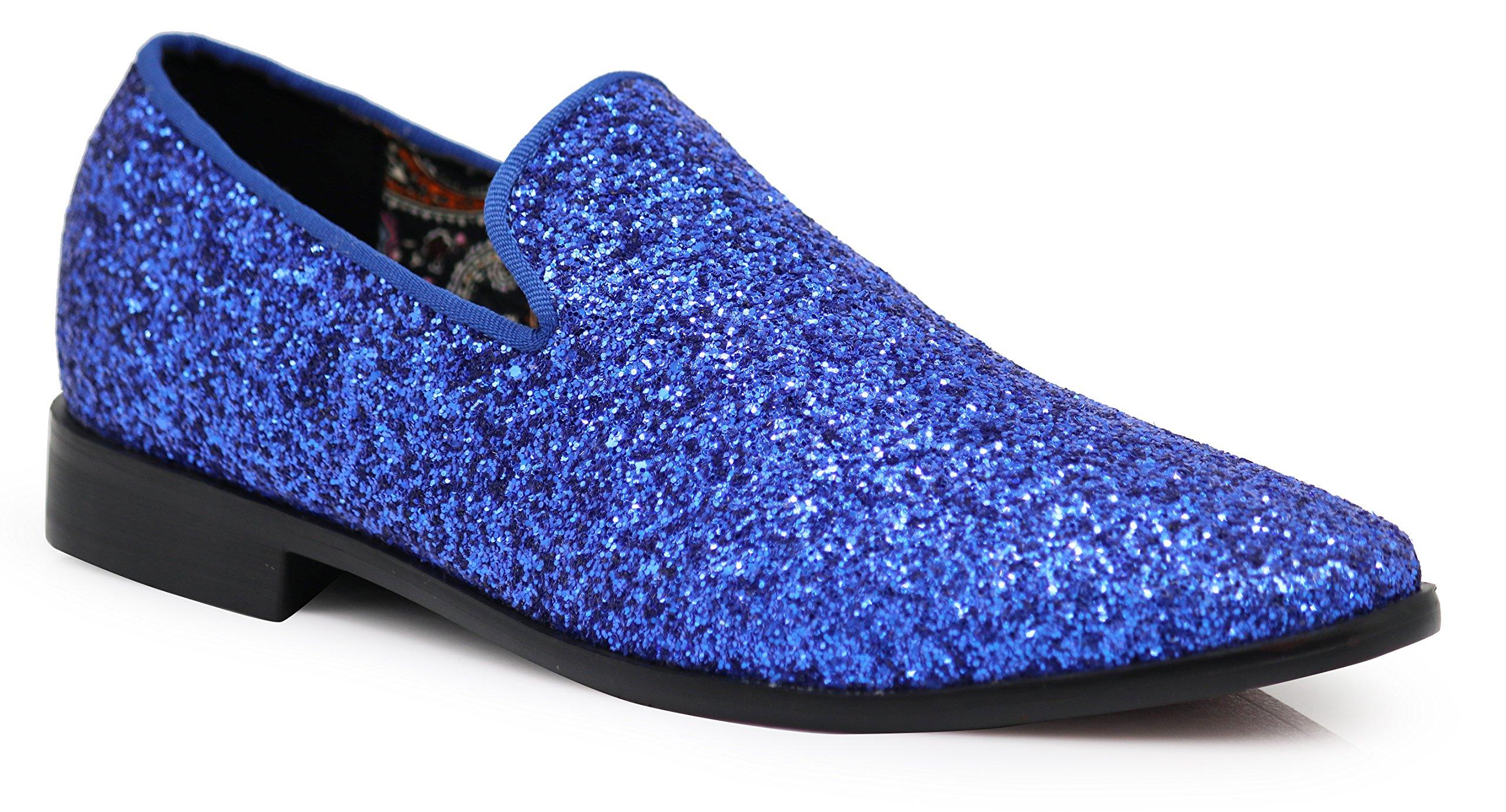 Enzo Romeo SPK04 Men's Vintage Glitter Dress Loafers Slip On Shoes Classic Tuxedo Dress Shoes (9.5, Royal Blue)