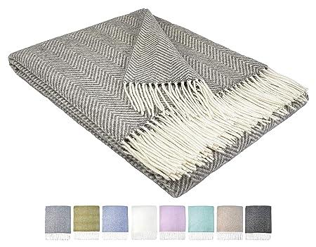 STTS International Wohndecke Wolldecke Decke Plaid Kuscheldecke 140 x 200 cm Wolle Milano Grau-Hellgrau