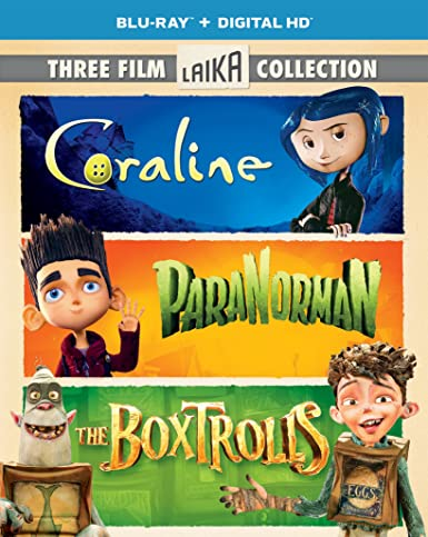 Amazon Com Three Film Laika Collection Coraline Paranorman The Boxtrolls Blu Ray Ben Kingsley Kodi Smit Mcphee Dakota Fanning Isaac Hempstead Wright Tucker Albrizzi Teri Hatcher Elle Fanning Anna Kendrick Jennifer Saunders Dee