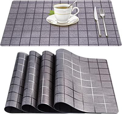 Xzhiyao Placemats PVC Set of 4 Soft Tablecloth Vinyl Non-slip Heat Insulation Anti-fouling and Waterproof Mats are Suitable for Family Kitchen Hotel Coffee Shop Dinning Restaurant