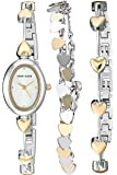 Anne Klein Women's  Heart Accented Two-Tone Watch and Bracelet Set