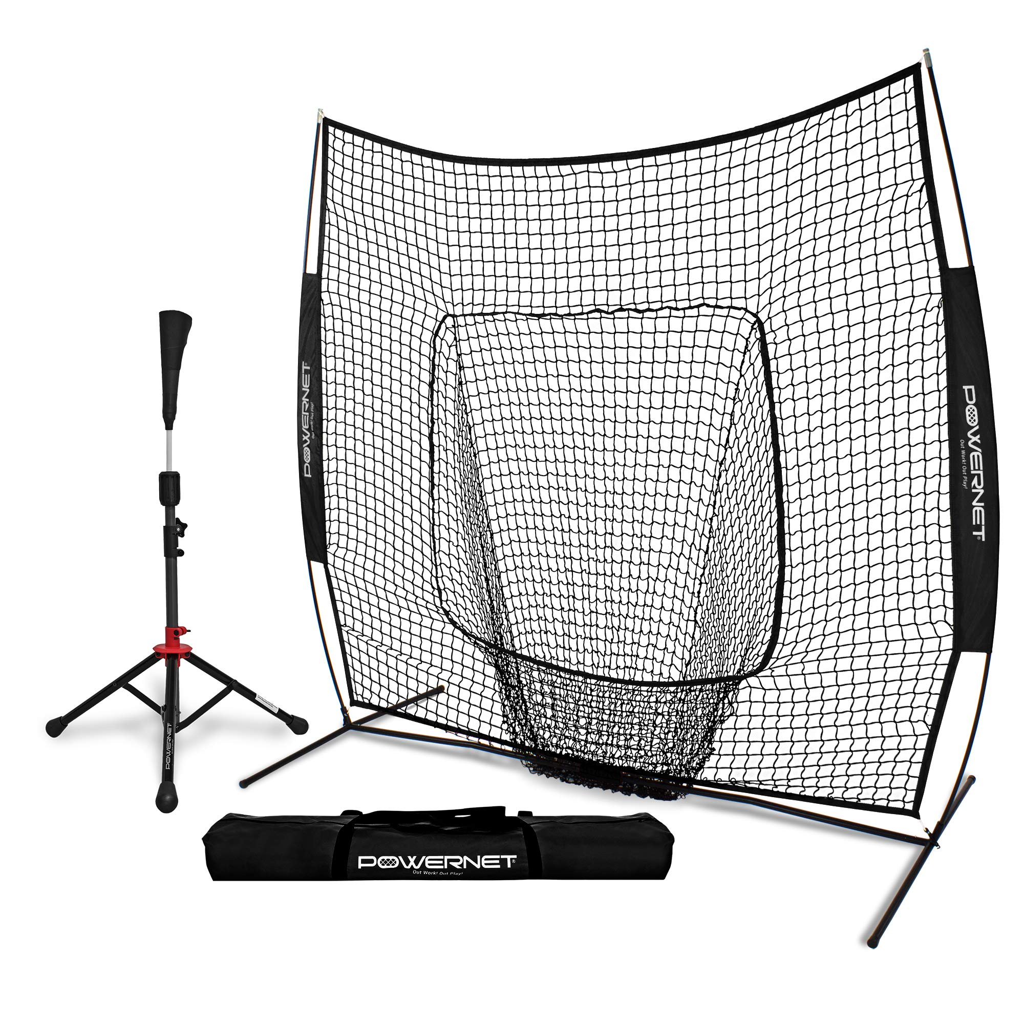 PowerNet Baseball Softball Practice Net 7x7 with Deluxe Tee (Black) | Practice Hitting, Pitching, Batting, Fielding | Portable, Backstop, Training Aid, Lg Mouth, Bow Frame | Training Equipment Bundle by PowerNet