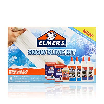 Elmer'S Snow Slime Kit | Slime Supplies Include Clear Liquid Glue, White Liquid Glue, Magical Liquid Slime Activator, Instant Snow Packets, 9 Count: Office Products