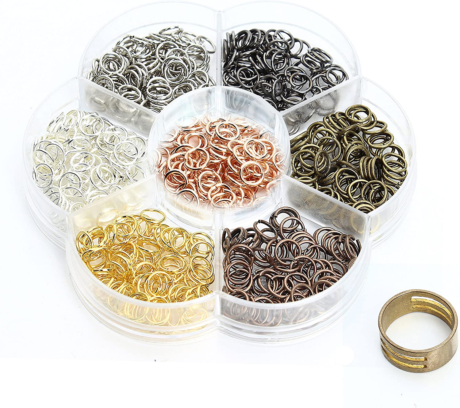 Linsoir Beads Bulk Sale Antique Bronze Plated Jump Rings Set Mixed Sizes O Rings for Jewelry Making Plastic Box Included 1 Pc