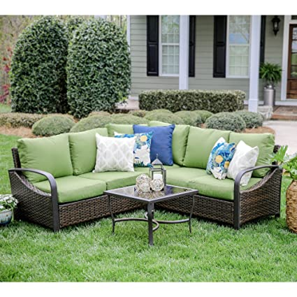Amazon Com Leisure Made Trenton 4 Piece Outdoor Sectional Green