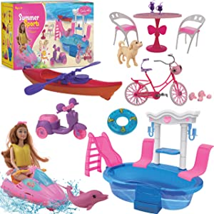 Beverly Hills Doll Furniture Playset - Pool and Sports Beach Set with Swimming Pool, Swim Accessories, fits Barbie Dolls and 11.5 Inch Dolls, for Girls (20 Piece Set. Doll Not Included)