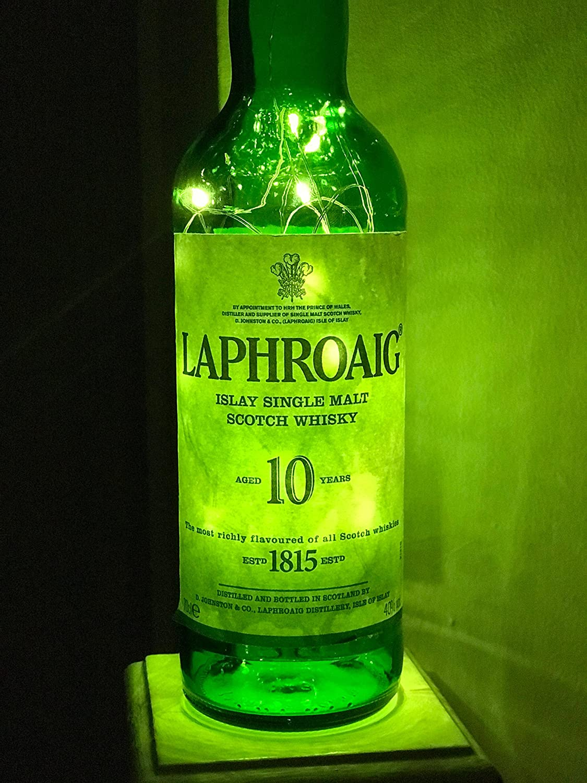 Laphroaig 10 Year old Whiskey, 70cl, 50 micro LED Bottle Lamp