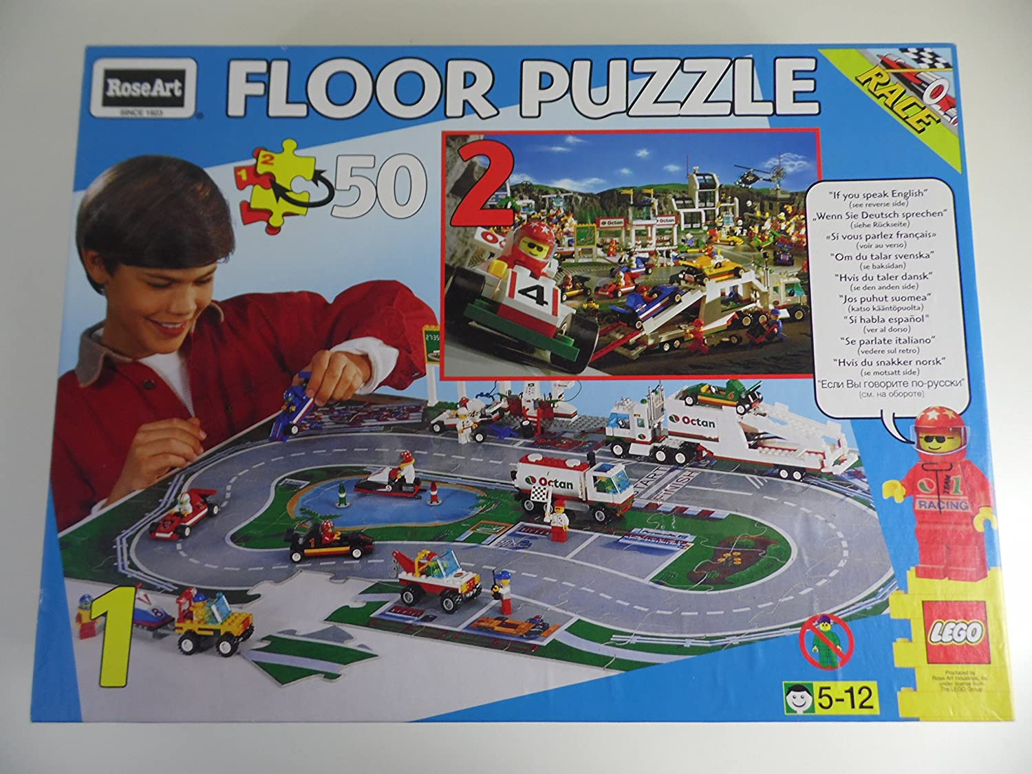 Amazon.com: Lego Race Track 50 Piece Double-Sided Floor Puzzle 24