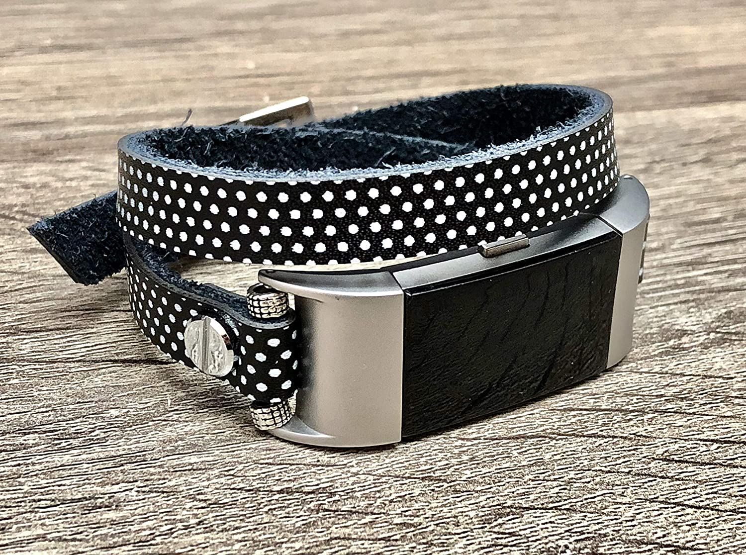Polka Dots Bracelet for Fitbit Charge 2 Women Design Handmade 10mm Slim Leather Fitbit Charge 2 Band Adjustable Black /& White Fitbit Bracelet Double Tour Luxury Soft Genuine Leather Band