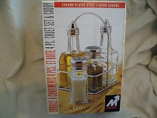 4PC GLASS SET SALT PEPPER OIL VINEGAR DISPENSER  CONDIMENT KITCHEN