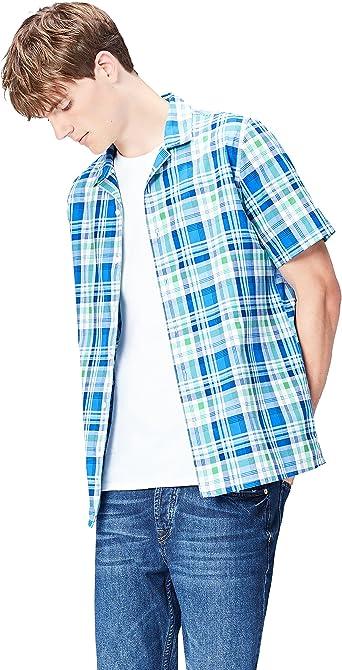Marca Amazon - find. Camisa de Manga Corta de Cuadros para Hombre