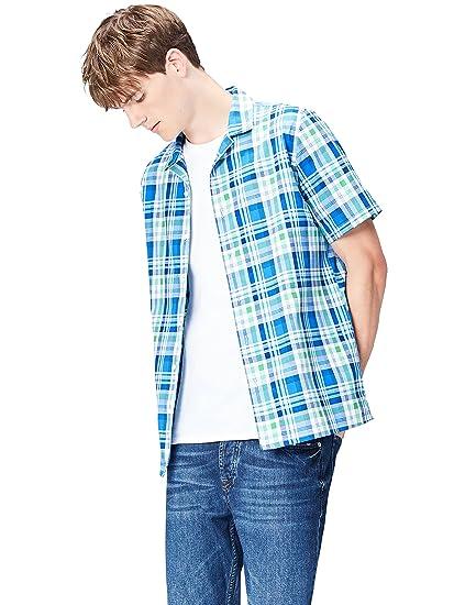 Amazon Marke: find. Herren Kurzärmeliges Hemd mit Karomuster