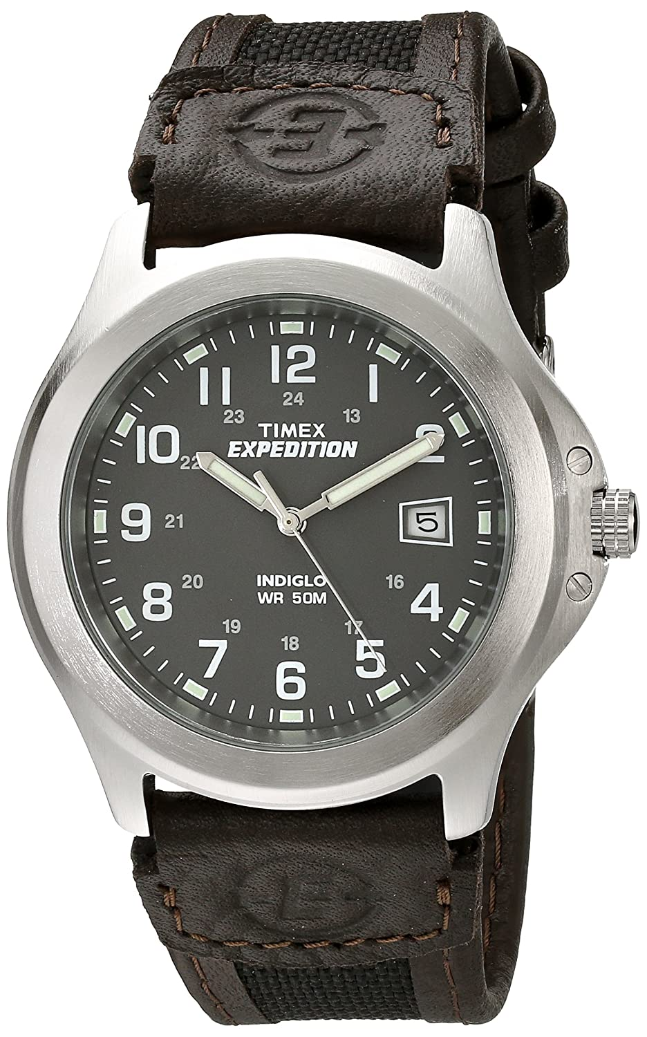 3354bf58f947 Amazon.com  Timex Men s T40091 Expedition Metal Field Black Brown Nylon Leather  Strap Watch  Timex  Watches
