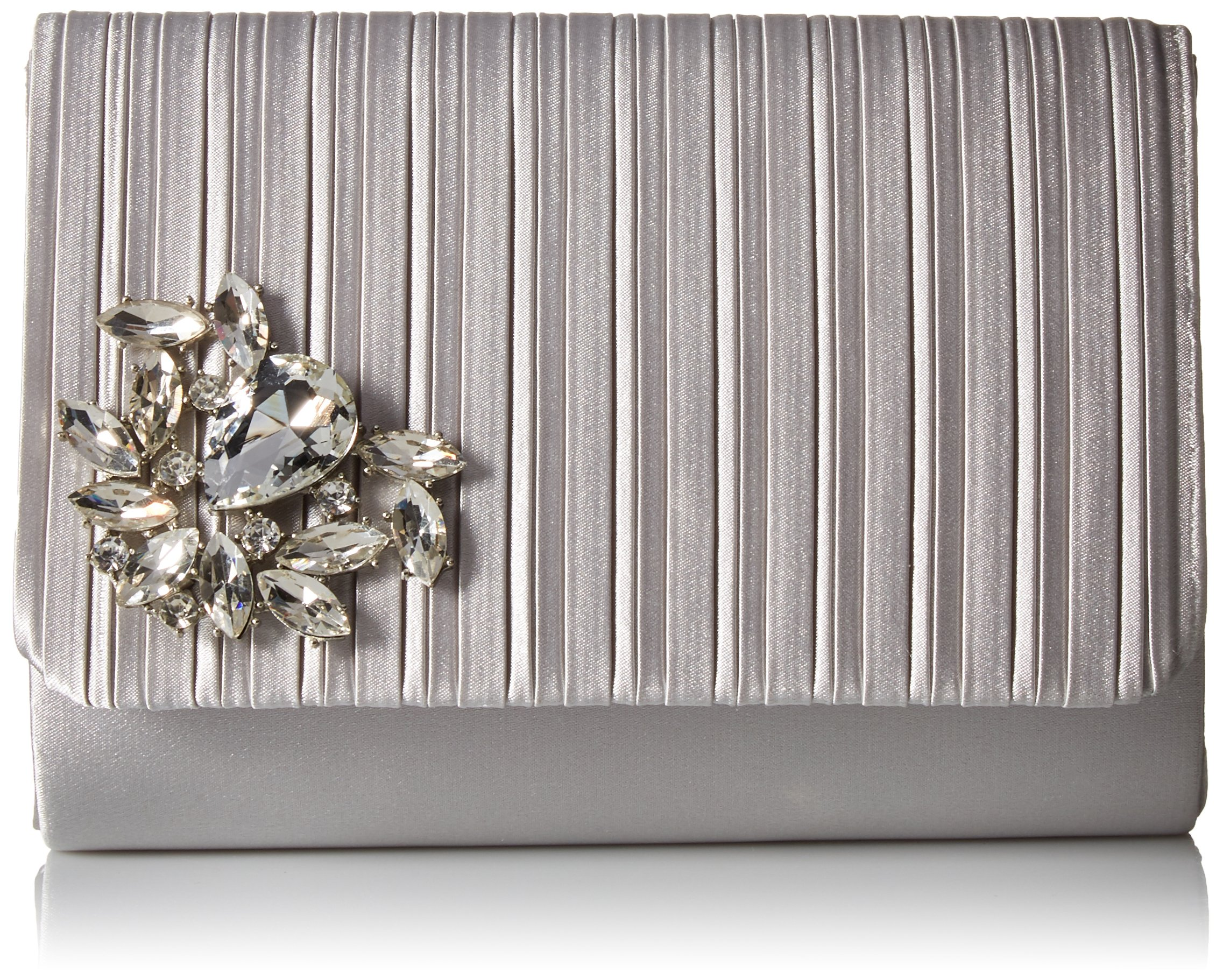 Jessica McClintock Katie Pleated Flap Evening Clutch Shoulder Bag, Silver