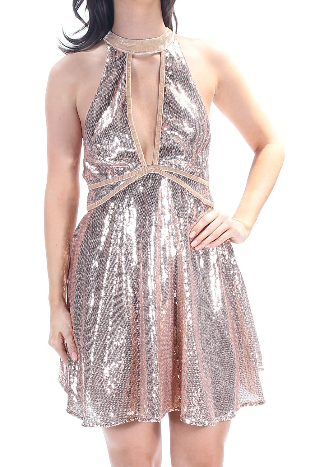 Free People Womens Sequined Velvet Trim Party Dress Rose Gold 6