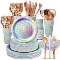 Deals on Mermaid Party Supplies 350PCS/Serves Dinnerware Set