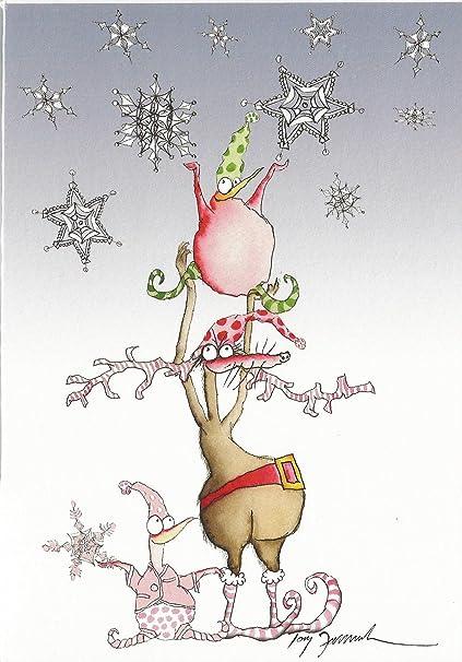 Fun Dessin Anime Carte De Noel Yipeee Sa Neige Rudolf Flocons De