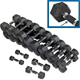 CAP Barbell PVC-Coated Hex Dumbbell Pairs Set (150/280/550/590 LB), Dumbbell Set with Rack Stand, Rack Only, or Set of 2 Weights with Padded Grip