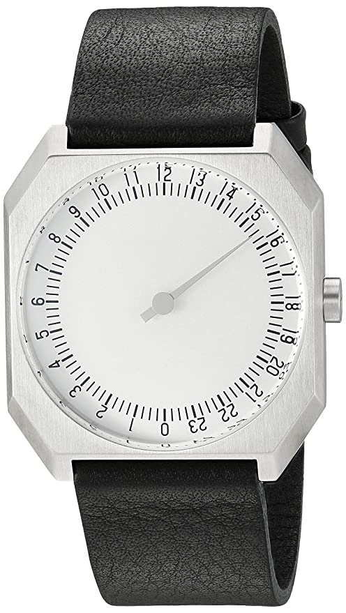 Amazon.com: slow Jo 05 - Swiss Made one-hand 24 hour watch - Silver with black leather band: The guys who do slow: Watches
